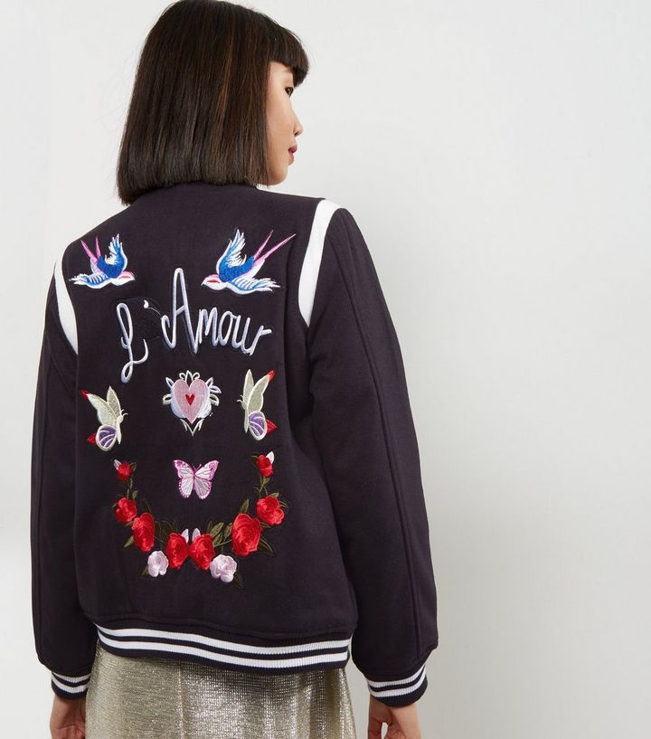 51b391fe2 Black L'Amour Embroidered Bomber Jacket Add to Saved Items Remove from  Saved Items