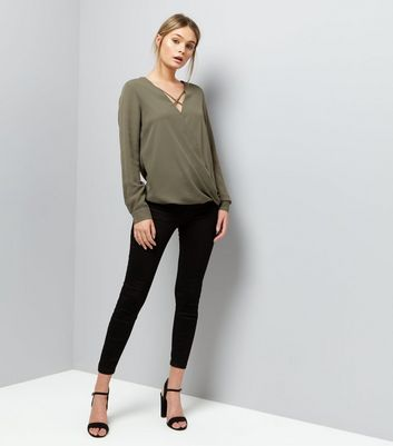 Khaki Cross Strap Wrap Front Top New Look