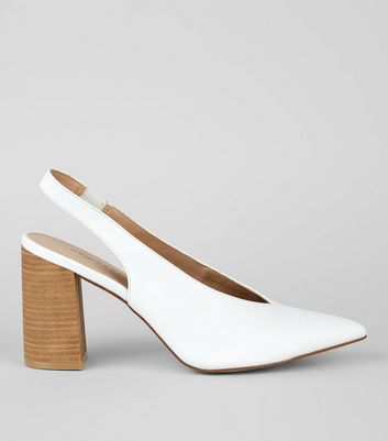 White Pointed V Throat Sling Back Heels New Look
