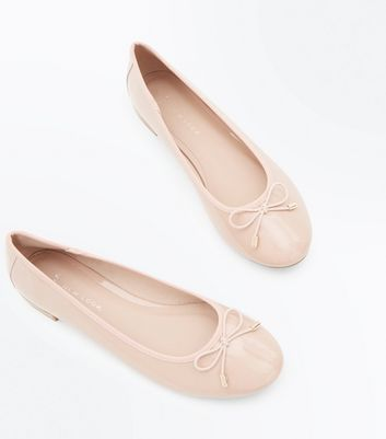Wide Fit Nude Patent Ballet Pumps | New