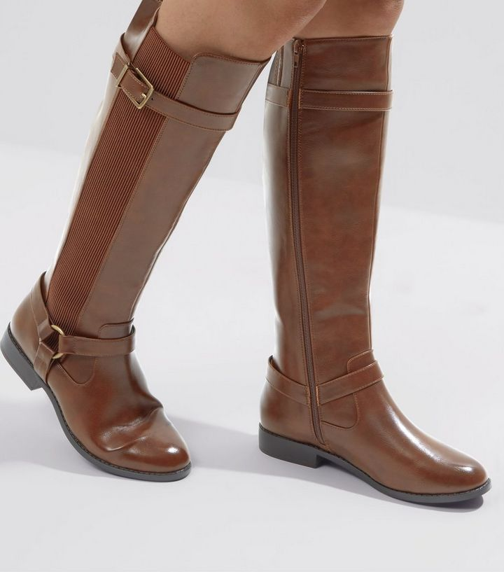 wholesale quality design low price Wide Fit Tan Stirrup Knee High Boots   New Look