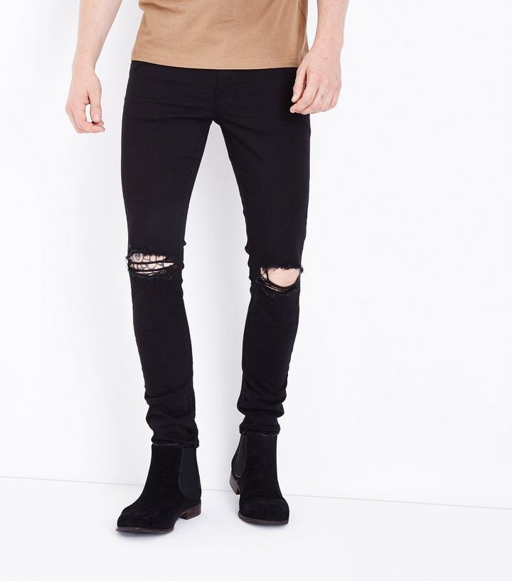 f67b7e058a00 Black Ripped Knee Stretch Skinny Jeans | New Look