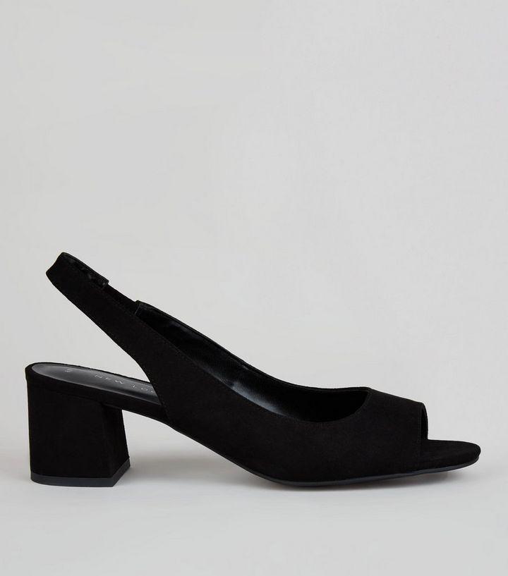 acb710c77cf Black Peep Toe Slingback Heels