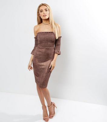 Loving This Pink Ribbed Metallic Bardot Neck Dress New Look