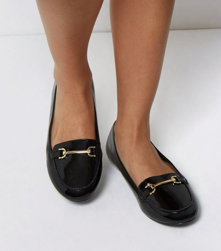 6d464a4e7ff7 Extra Wide Fit Black Patent Metal Bar Loafers