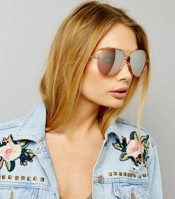 Rose Gold Pilot Sunglasses New Look