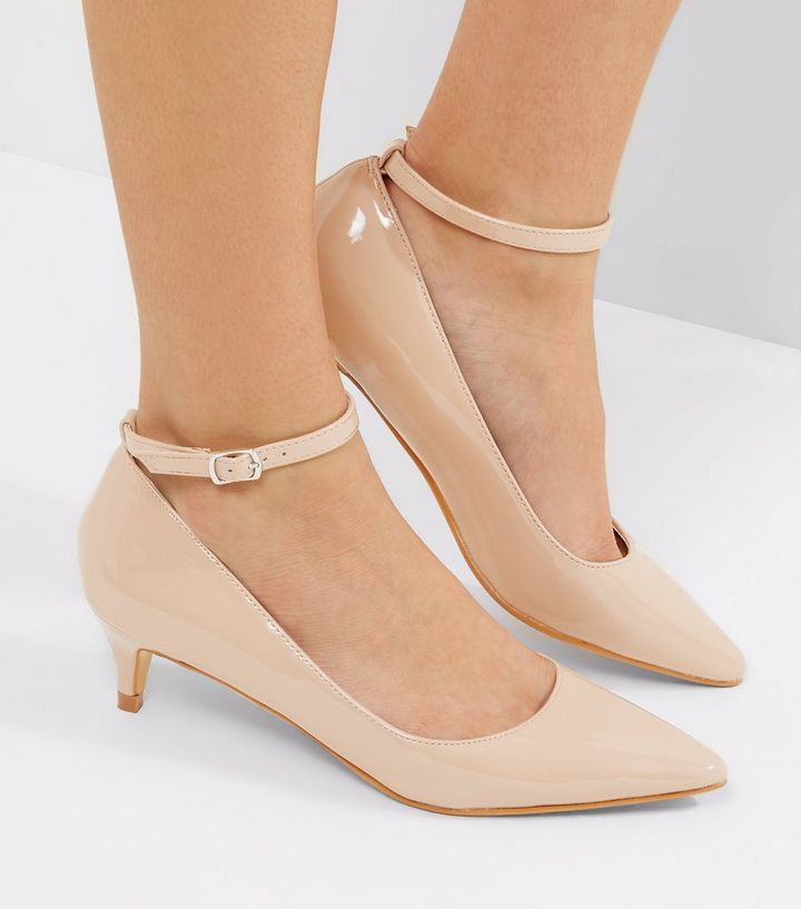 030c6f9e007bd Nude Patent Mid Heel Ankle Strap Court Shoes   New Look
