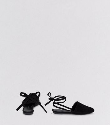 Teens Black Suedette Tie Back Mules New Look