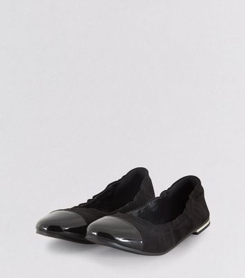 Teens Black Suedette Elasticated School Pumps New Look