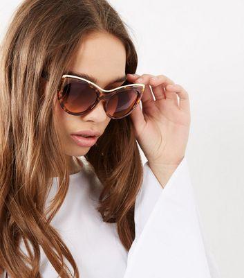 Brown Tortoiseshell Metal Trim Sunglasses New Look