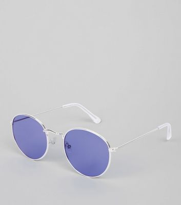 Blue Round Sunglasses New Look
