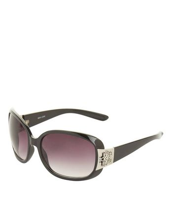 Black Filigree Side Sunglasses New Look