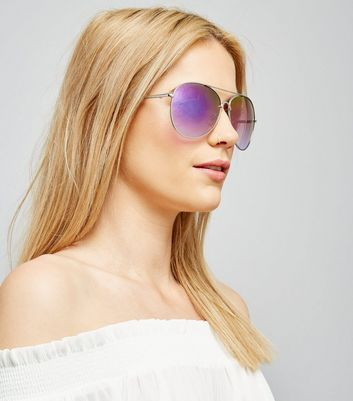 Purple Mirrored Pilot Sunglasses New Look
