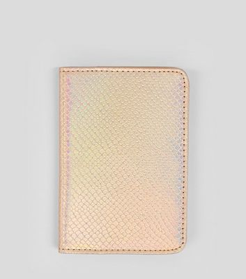 Rose Gold Snakeskin Texture Passport Holder New Look