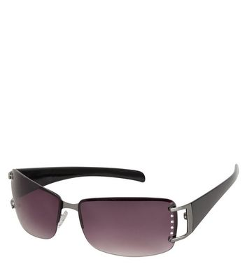 Black Diamante Side Rimless Sunglasses New Look