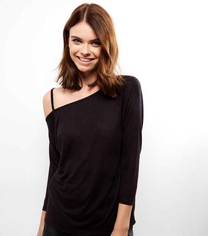 bb1a3663ecd Black Linen Look Off The Shoulder Long Sleeve Top | New Look