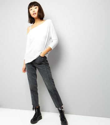 White Off The Shoulder 3/4 Sleeve Top New Look