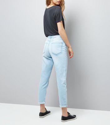 Light Blue Roll Hem Tori Mom Jeans New Look