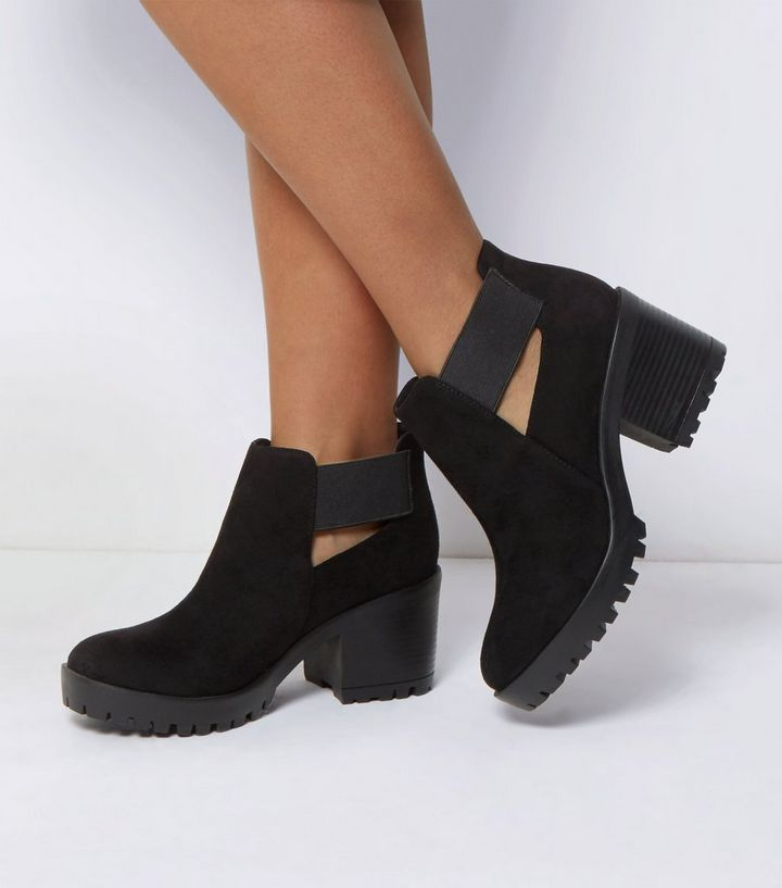 67bd04b7a32c49 Wide Fit Black Elasticated Strap Ankle Boots