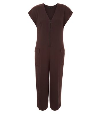 Burgundy Sateen Zip Front Utility Jumpsuit New Look