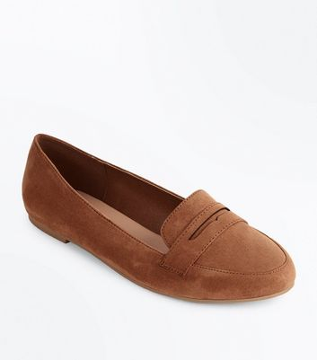 Tan Suedette Penny Loafers New Look