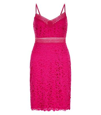 Bright Pink Lace Bodycon Dress New Look