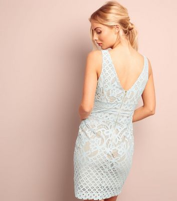 Pale Blue Lace V Neck Bodycon Dress New Look