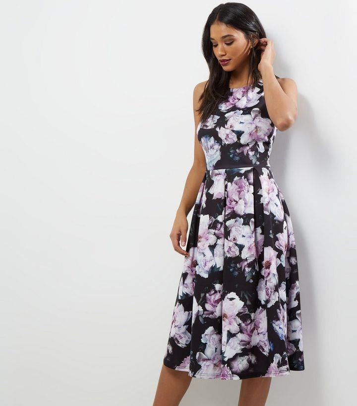 00bb9438796b Black Floral Midi Skater Dress