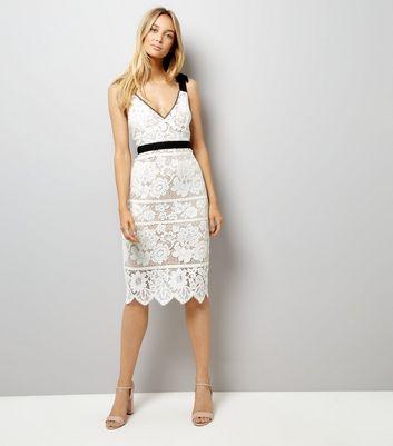 Cream Premium Lace Tie Strap Dress New Look