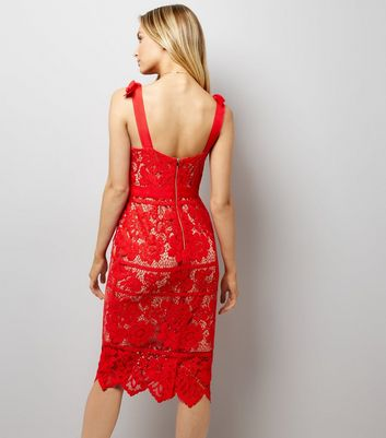 Red Premium Lace Tie Strap Dress New Look