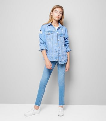 Teens Blue Ripped Denim Jacket New Look