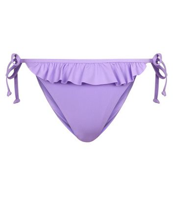 Light Purple Frill Trim Tie Side Bikini Bottoms New Look
