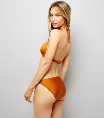 Rust Strappy Ring Front Plunge Bikini Top New Look