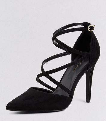 Black Suedette Cross Ankle Strap Pointed Heels New Look