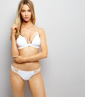 White Strappy Ring Side Bikini Bottoms New Look