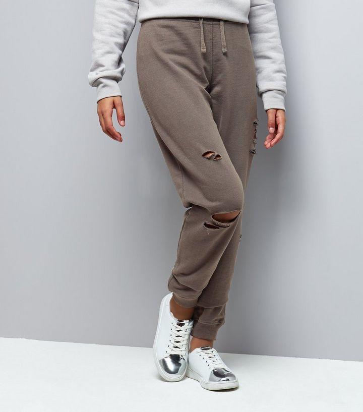 ca3f8cbf59a738 Teens Dark Grey Ripped Joggers   New Look