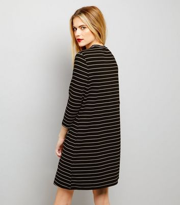 Black Floral Embroidered 3/4 Sleeve Stripe Swing Dress New Look