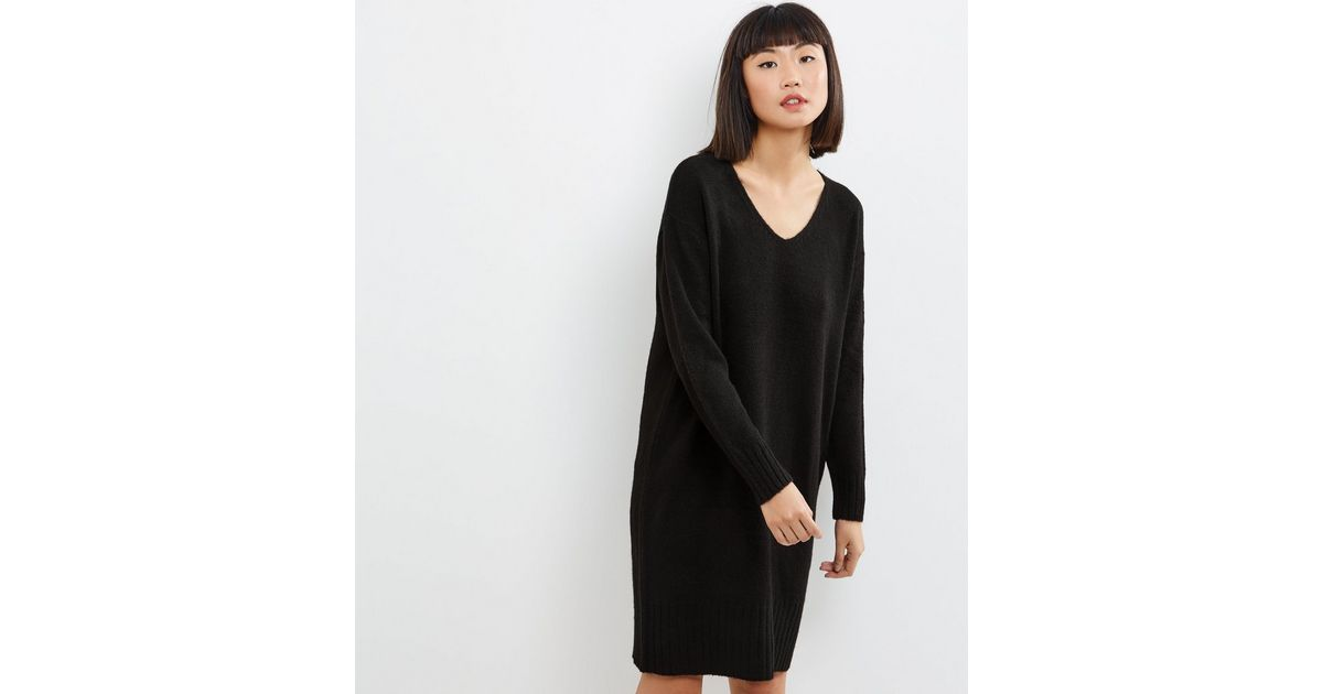 Robe Pull Mi Longue Noire A Col V New Look