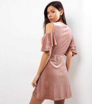 Shell Pink Velvet Flutter Sleeve Wrap Front Dress New Look