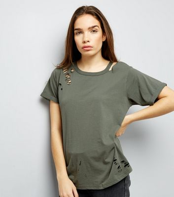 Olive Green Cut Out Ripped Neck T-Shirt New Look