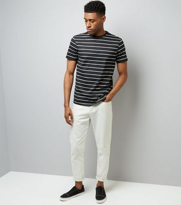 Black Stripe Crew Neck T-Shirt New Look