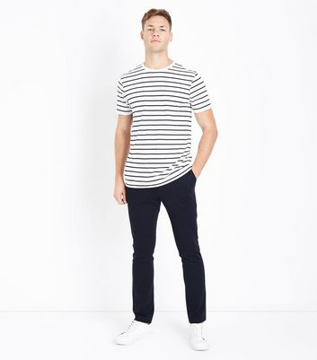 White Stripe Crew Neck T-Shirt New Look