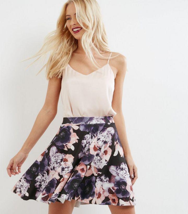 bb1ffc241 Black Floral Print Mini Skater Skirt | New Look