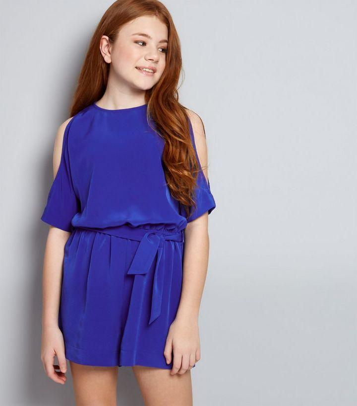 7f887684ad Teens Blue Cold Shoulder Tie Waist Playsuit