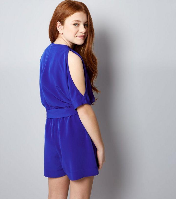 4cf75852c9 ... Teens Blue Cold Shoulder Tie Waist Playsuit. ×. ×. ×. Shop the look
