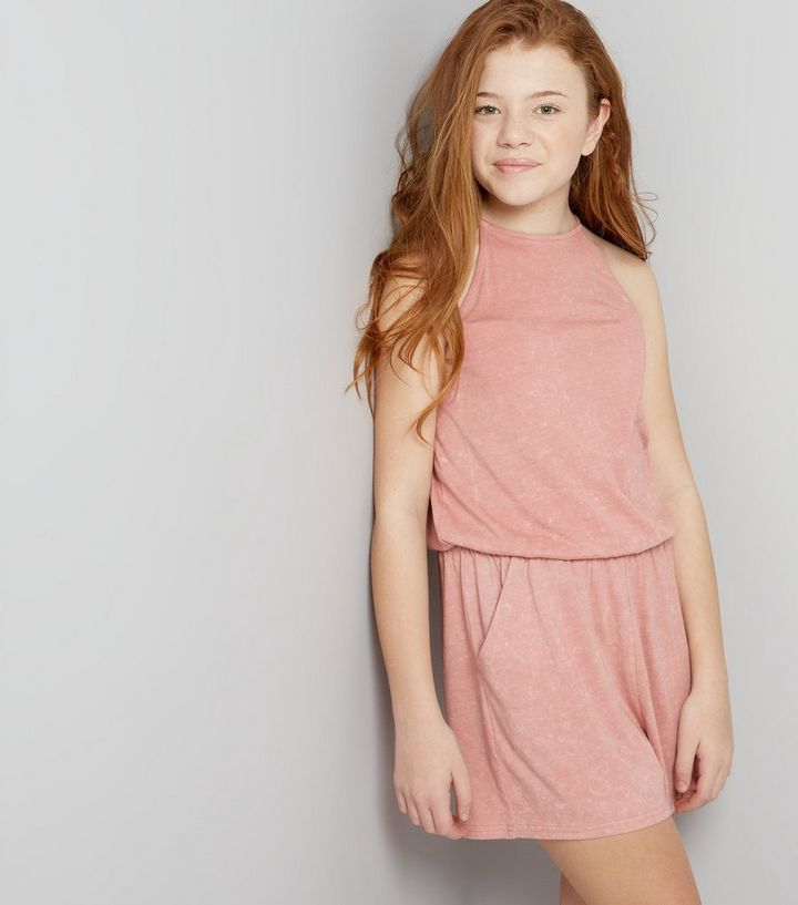 cb94704f7ad Teens Pink Acid Wash Playsuit