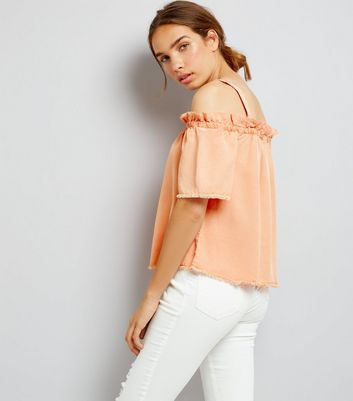 Noisy May Coral Frill Trim Cold Shoulder Top New Look