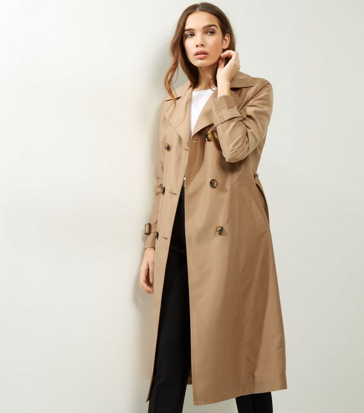 168e25826969d Camel Double Breasted Tie Waist Trench Coat | New Look