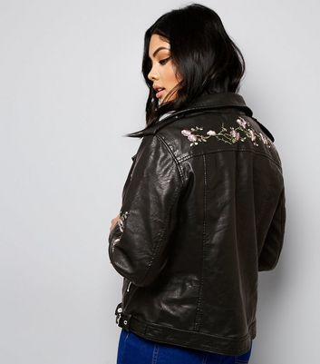 Curves Black Floral Embroidered Leather-Look Biker Jacket New Look
