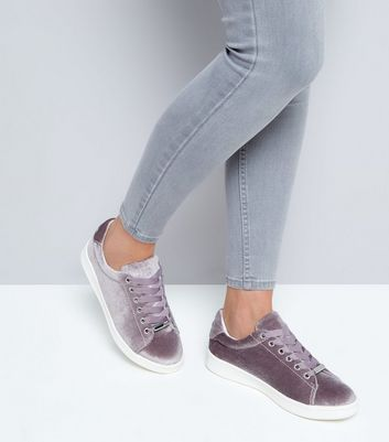 Lilac Velvet Lace Up Trainers New Look